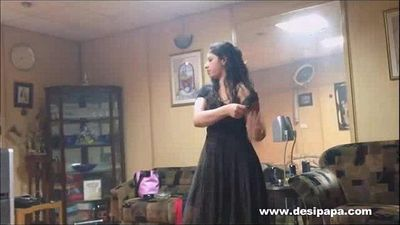 indian wife in bedroom dancing for hubby to tease him to make his mood for sex - 1 min 1 sec