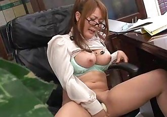 Hinata Komine having a tele-meeting where she masturbates - 55 sec