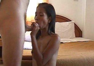 Skinny brunette Asian slut sucking a dick in a motel - 8 min