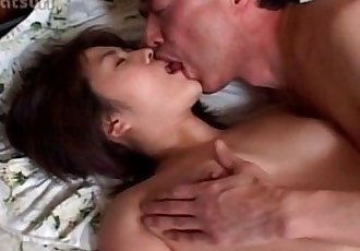 Aroused brunette asian pussy licked to orgasm in bed - 5 min
