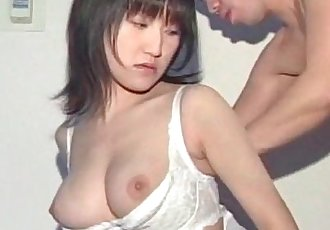 Big titted Asian in school eats and licks man stick in close-up - 5 min