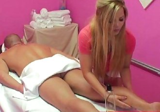 Blonde asian handjob masseuse - 8 min HD