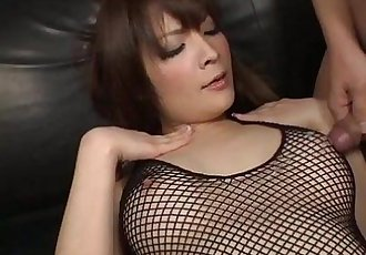 Riona looks sexy in black and her husband bends her over to toy her pink pussy w - 5 min