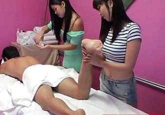 Asian massage babes sharing clients cock - 9 min