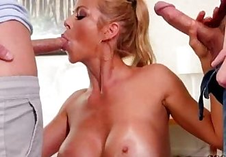 Hot mature for two huge cocks