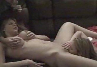 Husband enjoys watching his dirty wife fuck with lesbian - 9 min