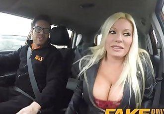 Fake Driving School squirting orgasm busty milf takes creampie after lessonHD