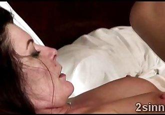 Brunette MILF gets her pussy smashed by her husbands best friend - 4 min