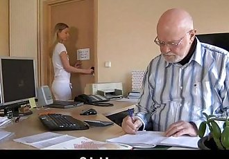 Old boss evaluates his young secretary with fuckHD