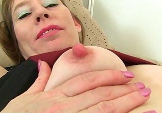 British milf Sexy P peels off her tightsHD