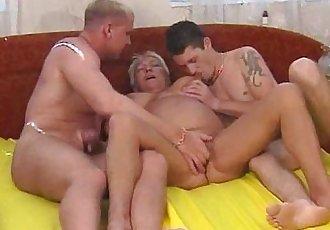 Busty blonde granny enjoys threesome fucking - 6 min