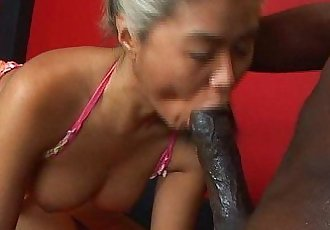 Mature asian sucks huge black cock - 12 min