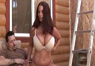 Busty cockloving milf tugging dick outdoors