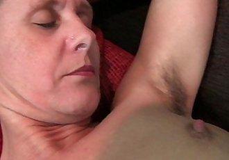 Granny Inge gets fingered up her full bushed pussy - 6 min HD