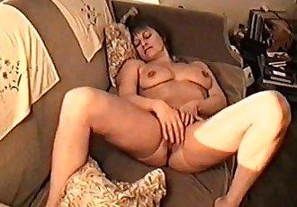 Yvonne naked on a sofa - 3 min
