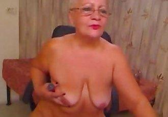 Pervert grandma having fun on web cam. Real amateur - 2 min