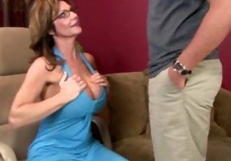 Mature busty handjob milf tugging on cock - 7 min