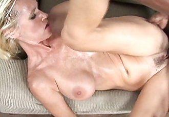 Glamorous blonde milf rides a stiff black sausage - 8 min HD
