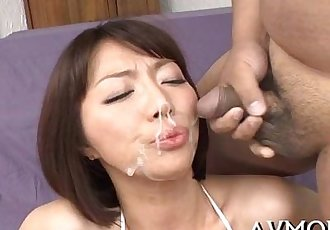 Two large cocks and a sexy oriental - 5 min