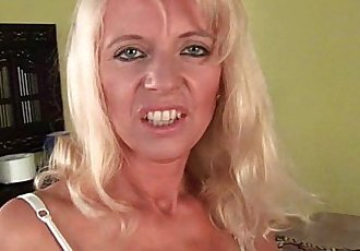 Sultry senior mom probes her old pussy with a large dildo - 6 min HD