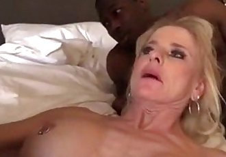 Blonde mature gilf black cock gangbang