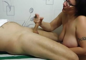 Mature Brunette Jerking dick to the peasant