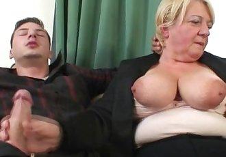 Two buddies bang drunk old whore