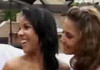 Tanned Lesbians Kissing Outside