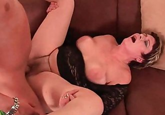 Sexy Grandma Enjoys His Cock In Her Mouth And Hairy Pussy