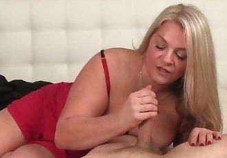 Huge-titted blonde milf handjob