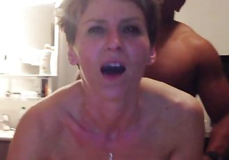 Cougar has anal orgasm from young black cock