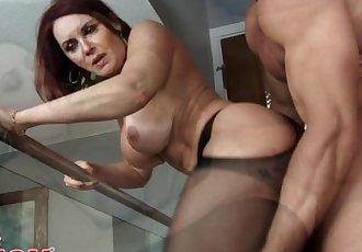Redheaded MILF Janet Mason seduces her son\